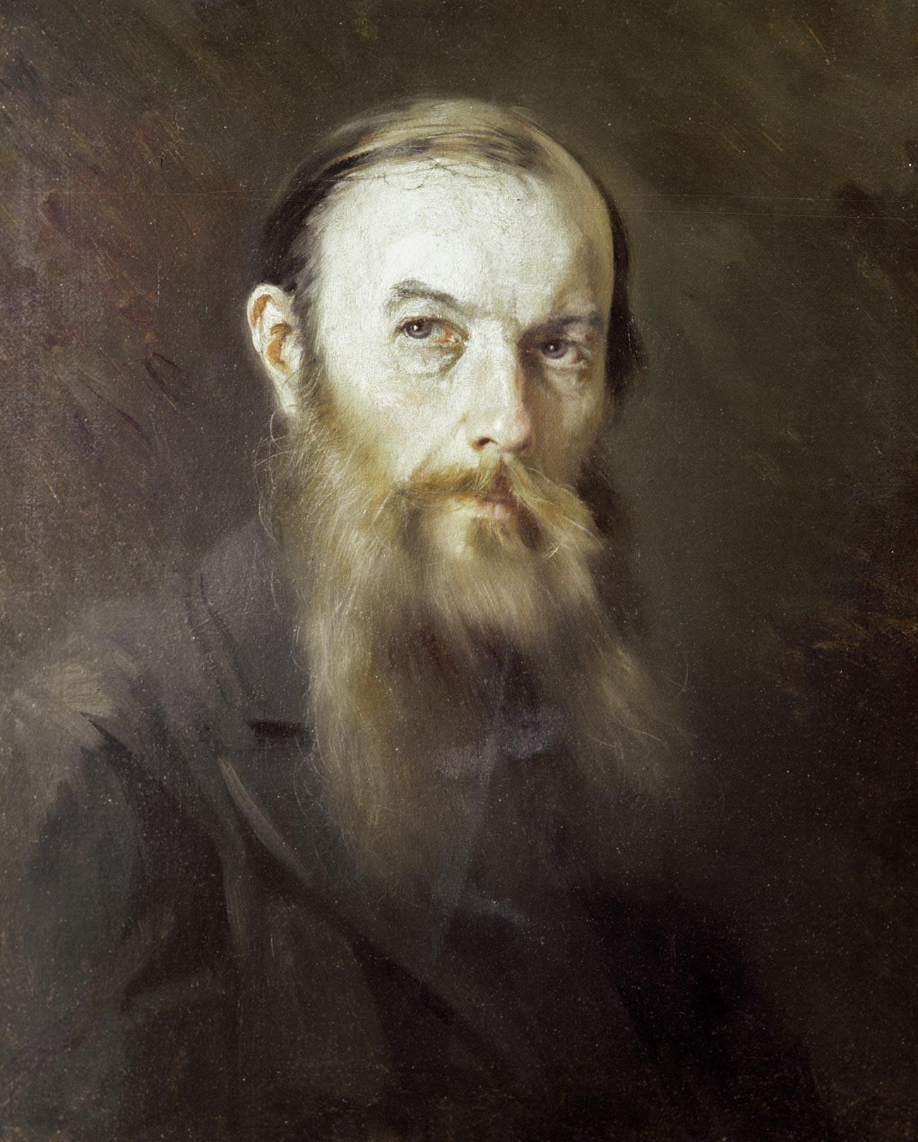 Riproduzione del ritratto di Fjodor Dostoevskij realizzato da M. Scherbatov; dalla collezione del museo-casa di Dostoevskij