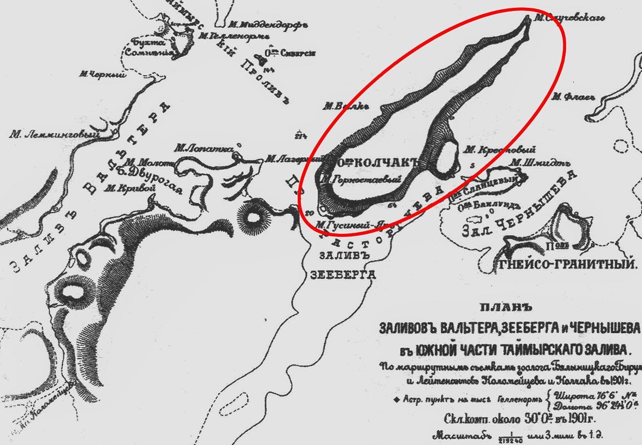 Остров Колчак на карте южной части Таймырского залива.