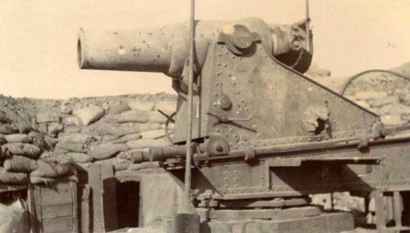 Mortero ruso M1877de 299 mm capturado por los japoneses en Port Arthur.