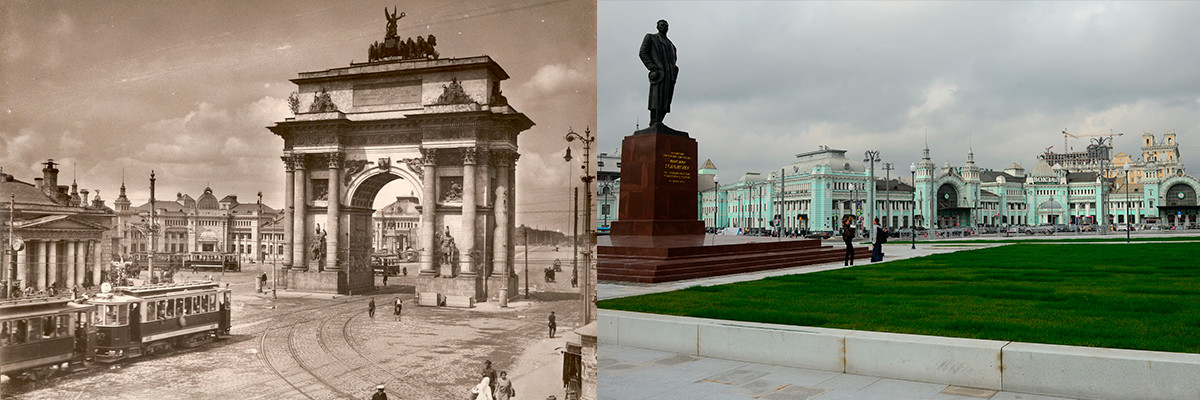 The square in the 1920s and today.