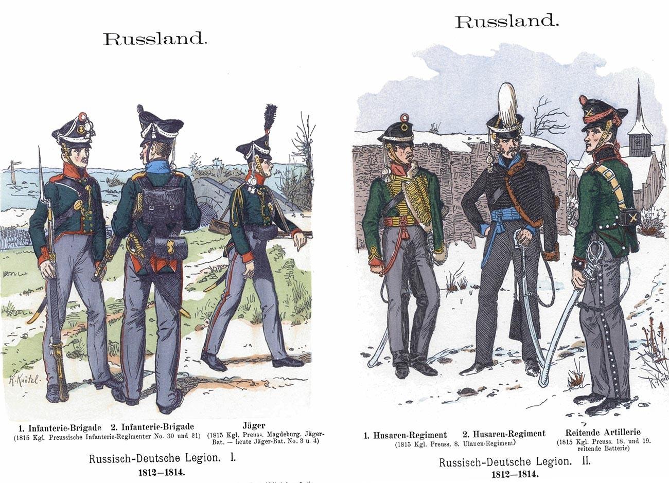Руско-немачки легија 1812-1814. 1. Пешадијска бригада и стрелац (јегер); 2. Гусарски пук – Коњичка артиљерија.