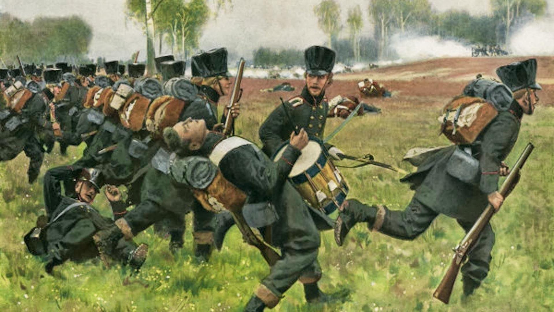 Елеонора Прохаска, жена борац у пруској војсци, пада смртно рањена у бици код Герде (16. септембра 1813).
