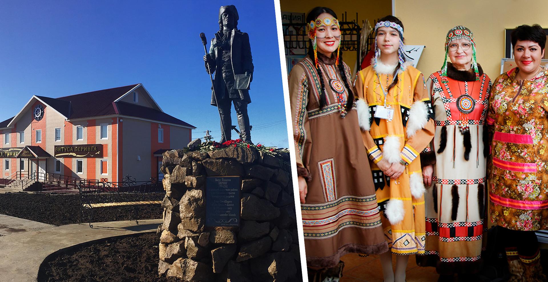 Жители острова Беринга в традиционных костюмах алеутов.