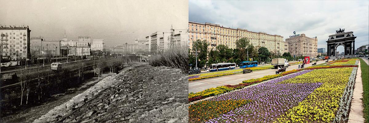 Der Blick vom Poklonnaya-Hügel Mitte der 1950er Jahre und heute.