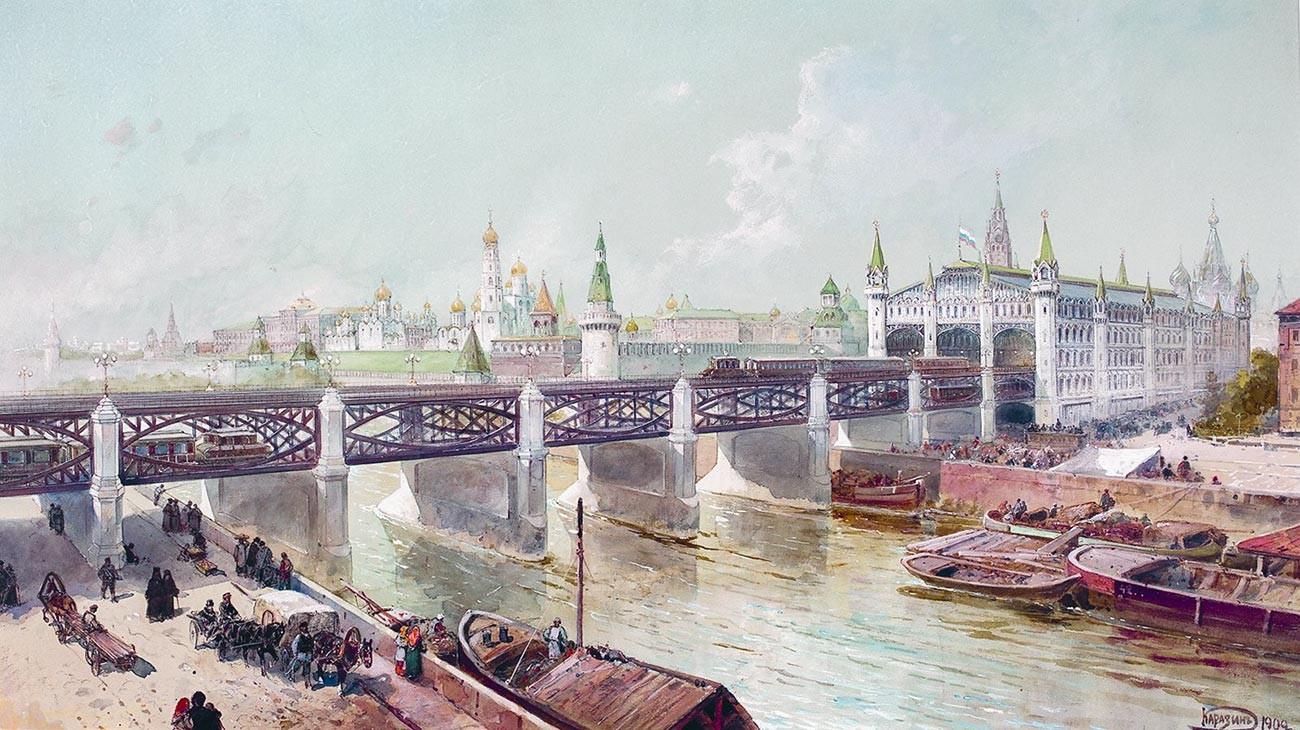 Rancangan proyek P. Balinsky dengan jembatan kereta melintasi sungai Moskow di kawasan Lapangan Merah.