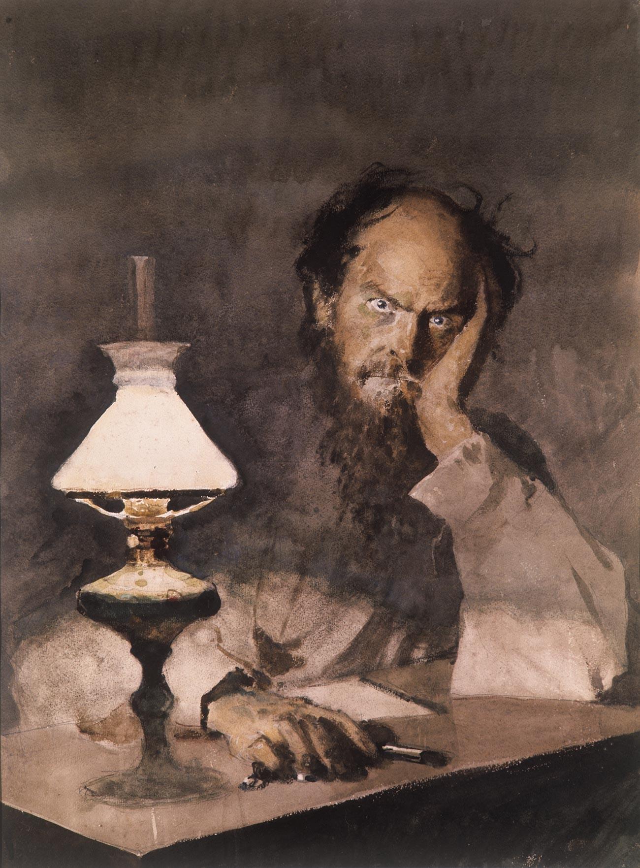 『悪霊』のイラストレーション。自殺の直前のキリーロフ、M.ドゥルノフ画