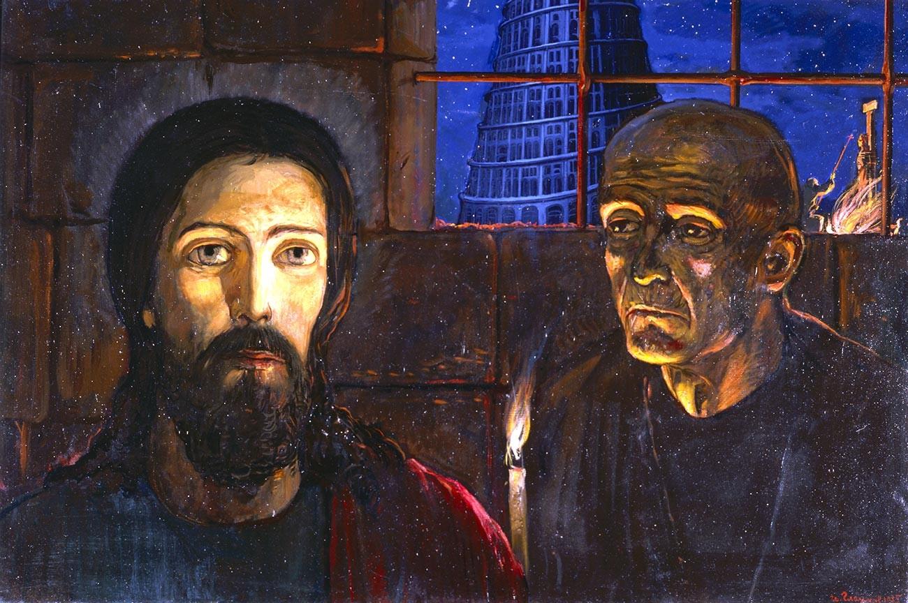 「大審問官」、三連作「大審問官の伝説」の一部(『カラマーゾフの兄弟』のイラストレーション)。イリヤ・グラズノフ画