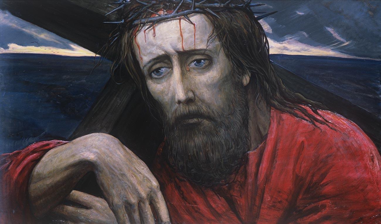 「ゴルゴタの丘」、三連作「大審問官の伝説」の一部(『カラマーゾフの兄弟』のイラストレーション)。イリヤ・グラズノフ画