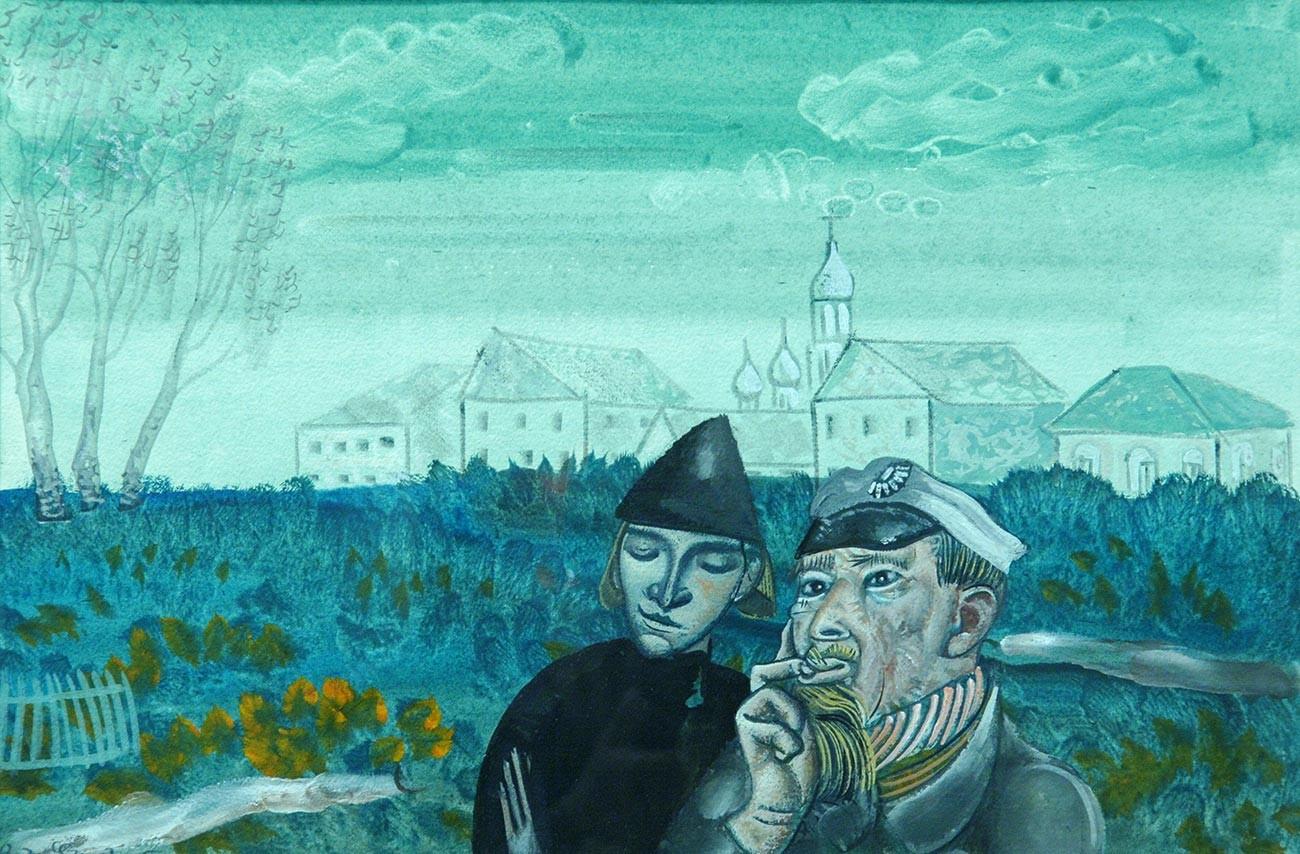 『カラマーゾフの兄弟』のイラストレーション。ボリス・グリゴリエフ画