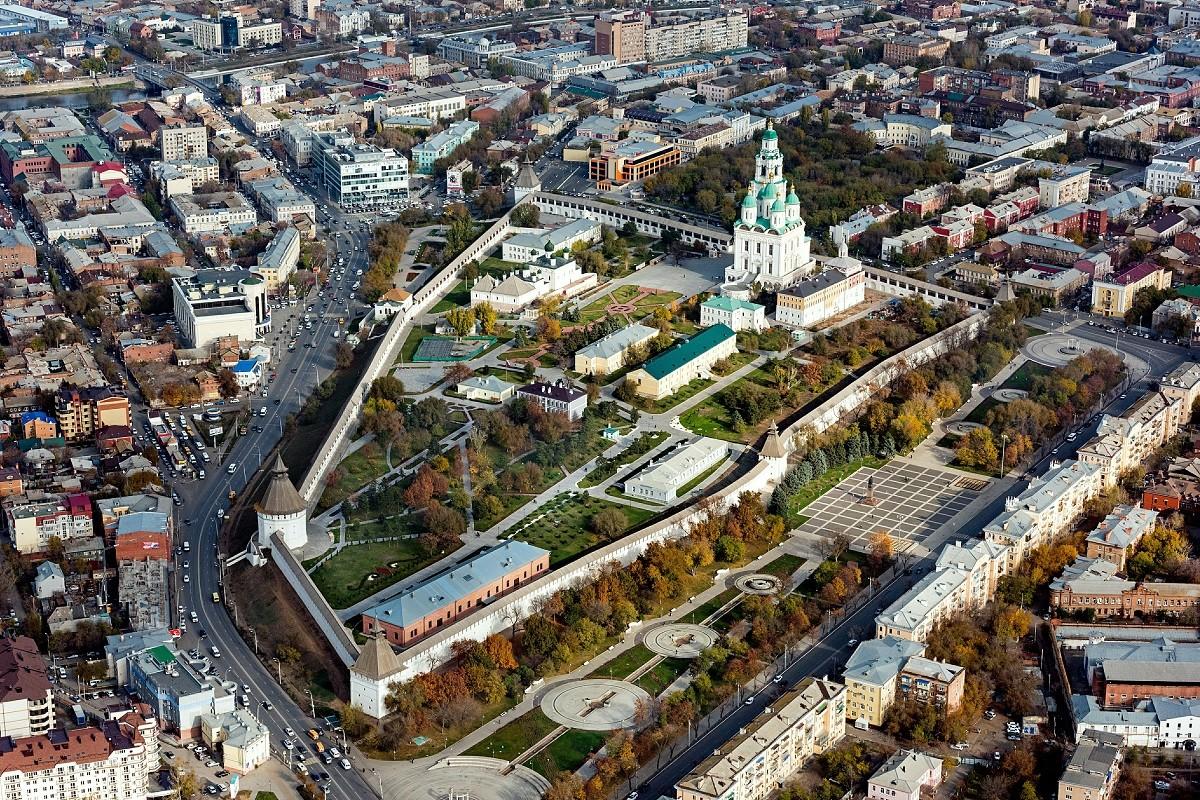 Vue aérienne sur le kremlin d'Astrakhan