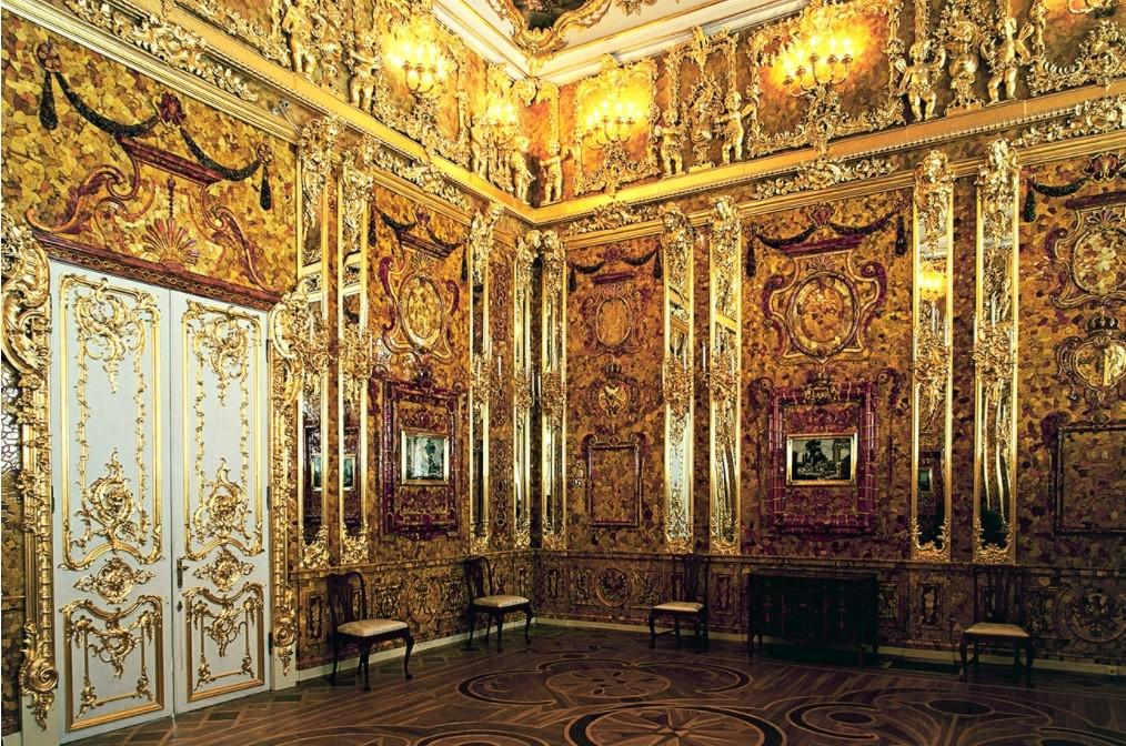 Cámara de Ámbar, palacio de Catalina, Tsárkoye Seló, cerca de San Petersburgo.