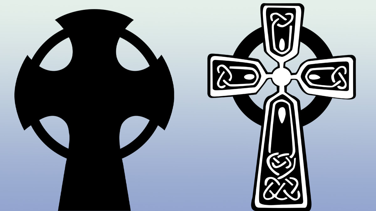 Salib Novgorod (kiri), salib Keltik (kanan)