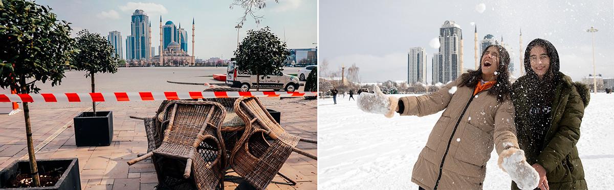 Le centre de Grozny le 1er avril 2020 et le 17 février 2021