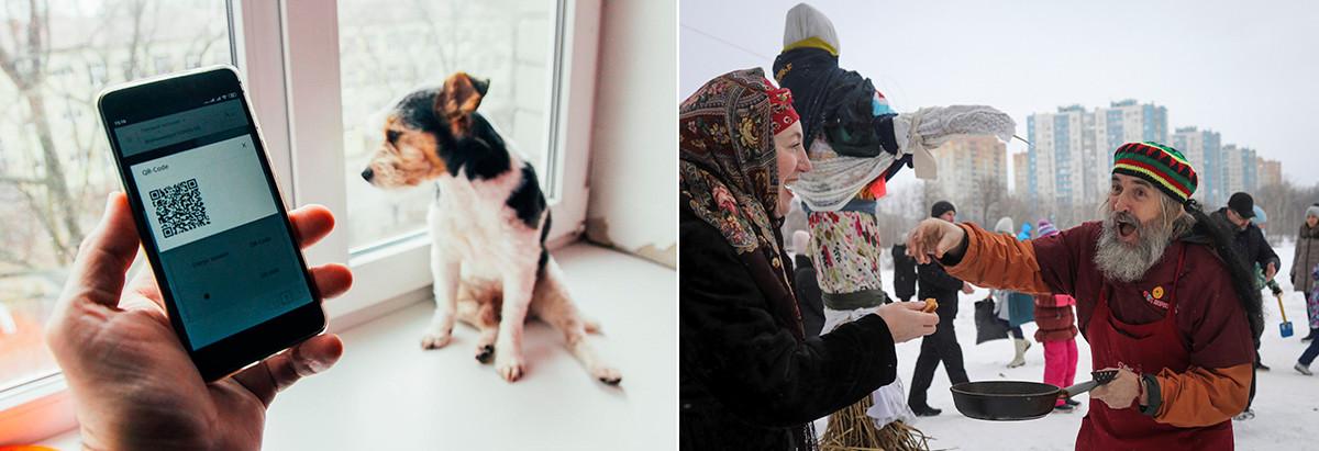 À gauche: Un résident de Nijni Novgorod obtenant son code QR pour sortir de son domicile, le 2 avril 2020. À droite: Célébrations de la Maslenitsa à Nijni Novgorod en mars 2021