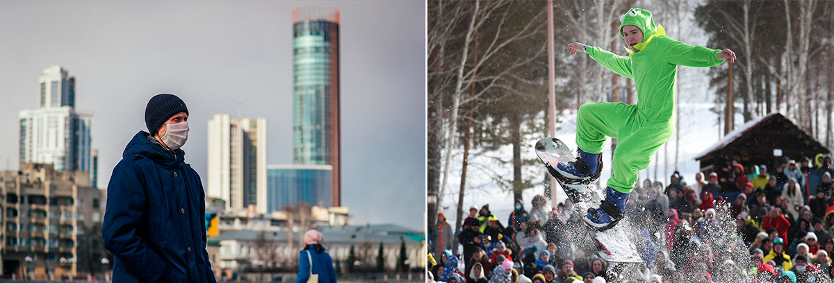 À gauche: Le centre d'Ekaterinbourg le 2 avril 2020. À droite: Le Red Bull Jump and Freeze show à Ekaterinbourg, le 21 mars 2021