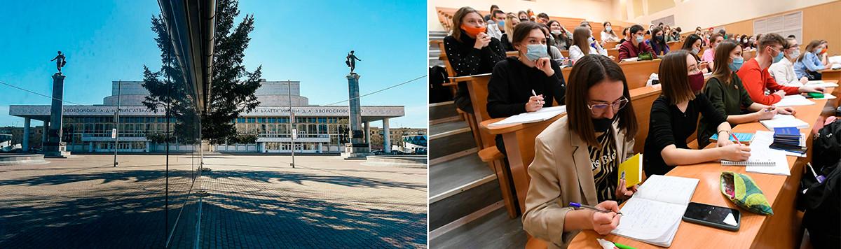 À gauche: Place du Théâtre de Krasnoïarsk, le 31 mars 2020. À droite: Étudiants de l'Institut de Biologie fondamentale et de biotechnologie de l'Université fédérale de Sibérie, à Krasnoïarsk, le 8 février 2021