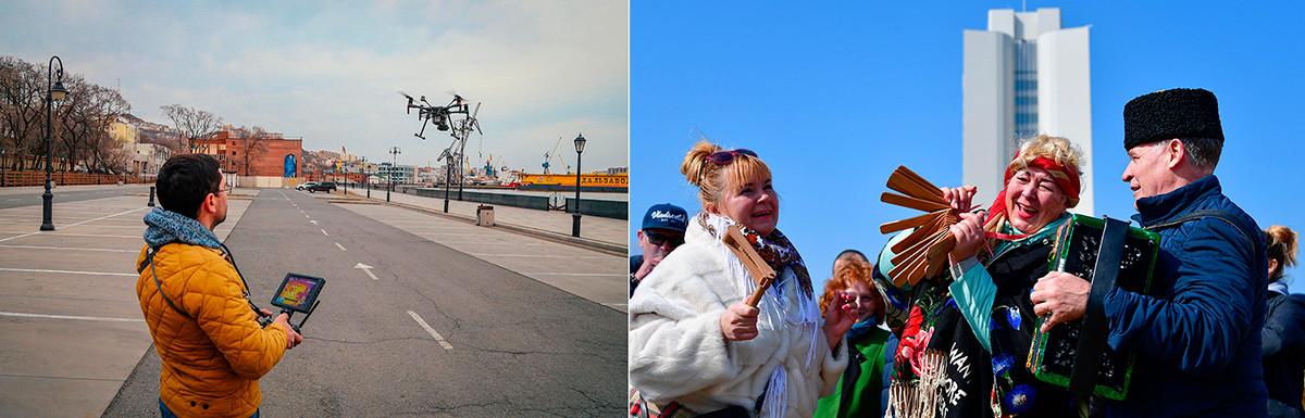 À gauche: Vol d'essai d'un drone destiné à surveiller l'application de l'auto-isolement à Vladivostok, le 3 avril 2020. À droite: Célébrations de la Maslenitsa à Vladivostok en mars 2021