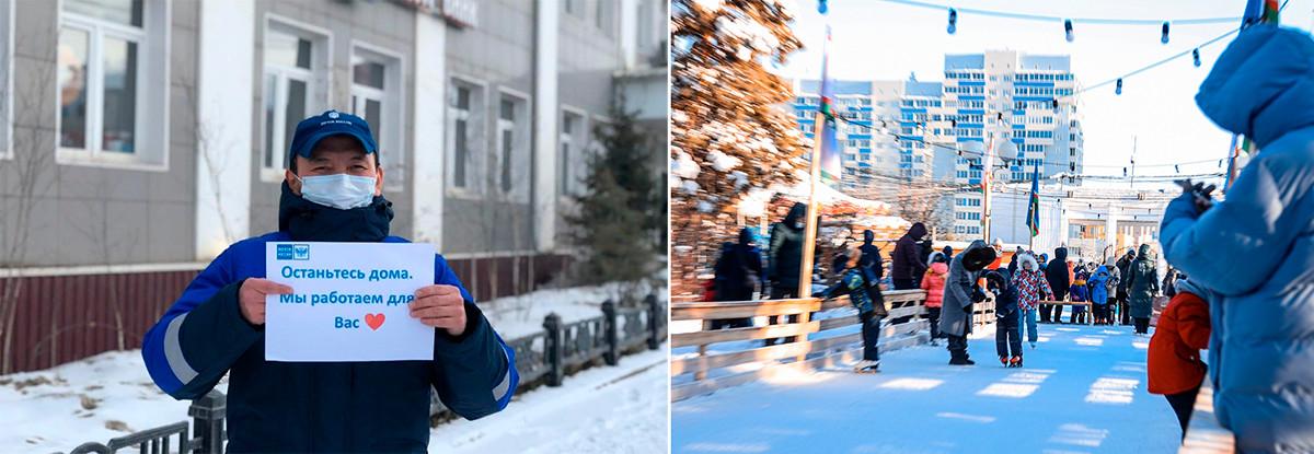 À gauche: Un employé de la Poste de Russie à Iakoutsk tenant une affiche disant: