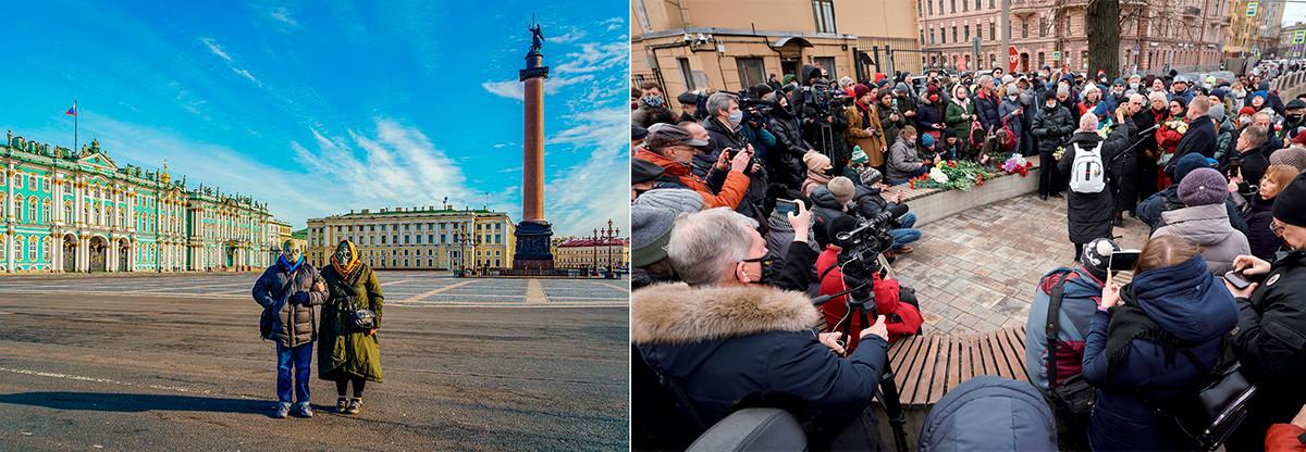 À gauche: La place du Palais à Saint-Pétersbourg, début avril 2020. À droite: Inauguration d'une sculpture de bronze dédiée aux travailleurs de la santé à Saint-Pétersbourg, en mars 2021