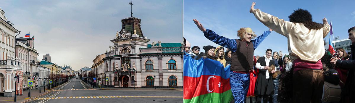 A sinistra, la via del Cremlino a Kazan, 31 marzo 2020; a destra, persone in strada a Kazan, 21 marzo 2021
