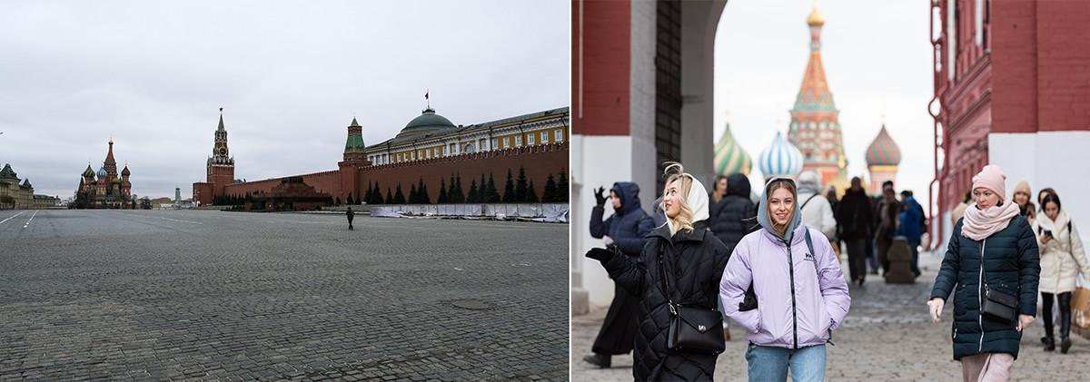 La Piazza Rossa di Mosca nella primavera del 2020 e del 2021