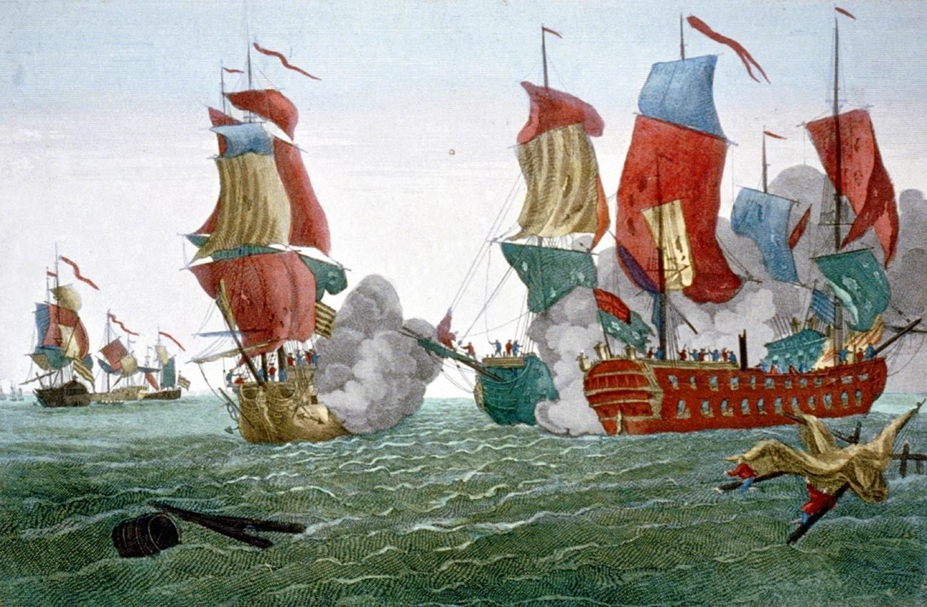 Battle of Flamborough Head, East Yorkshire, England, 22 Sept. 1779, between the American John Paul Jones and British vessel 'Serapis'. Print 1780.