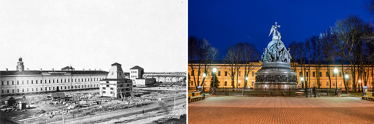 The construction of the monument in 1862 and the view in 2017.