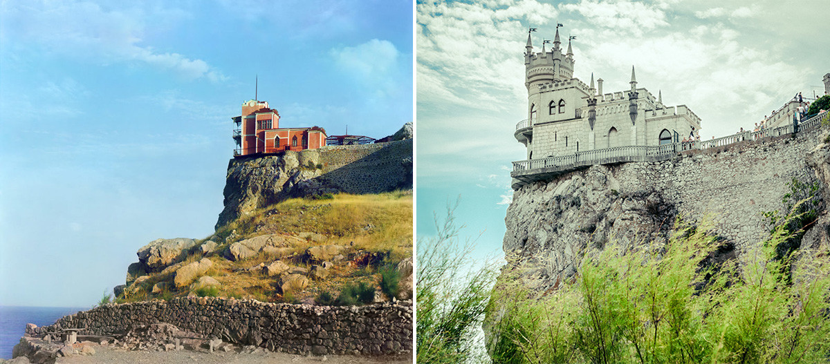 This is how Sergey Prokudin-Gorsky depicted Lastochkino Gnezdo in 1904 - and how it looks now.