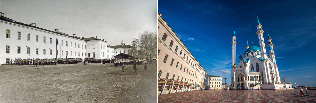 The first photo was taken in 1910-1917. The second one nowadays.