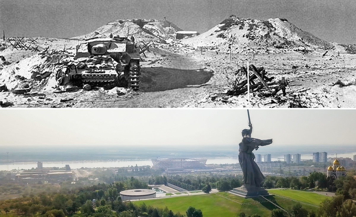 Mamayev Kurgan after the war, 1945, and the view from the same point today.