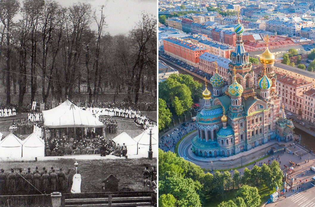 The first photo was taken in 1883. The second one nowadays.