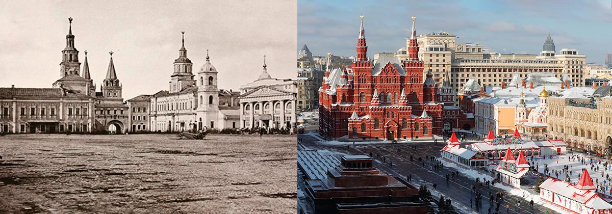 Juste avant la démolition de l'ancien bâtiment de la pharmacie en 1872 et de nos jours
