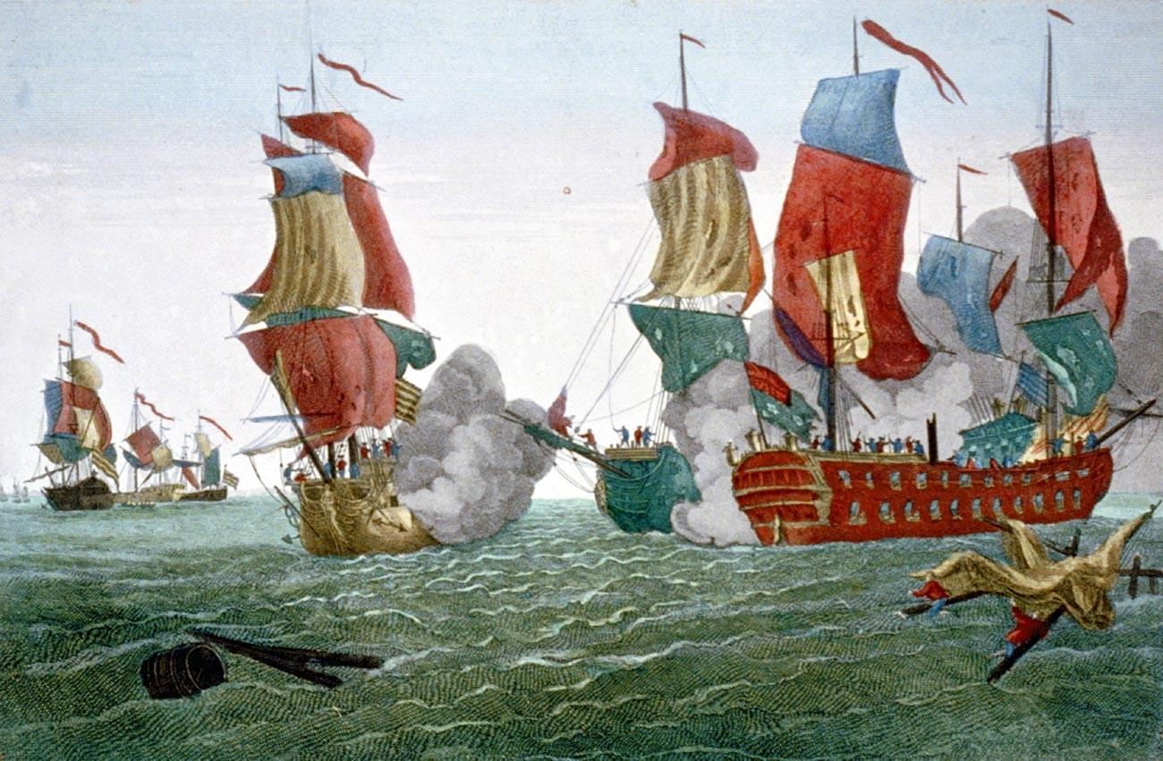 Bitka pri Flamborough Headu v Vzhodnem Yorkshiru v Angliji, 22. septembra 1779 med Johnom Paulom Jonesom in britansko ladjo Serapis. Tisk, 1780.
