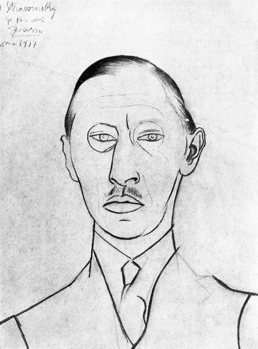 Esboço do famoso compositor Igor Stravinsky por Pablo Picasso