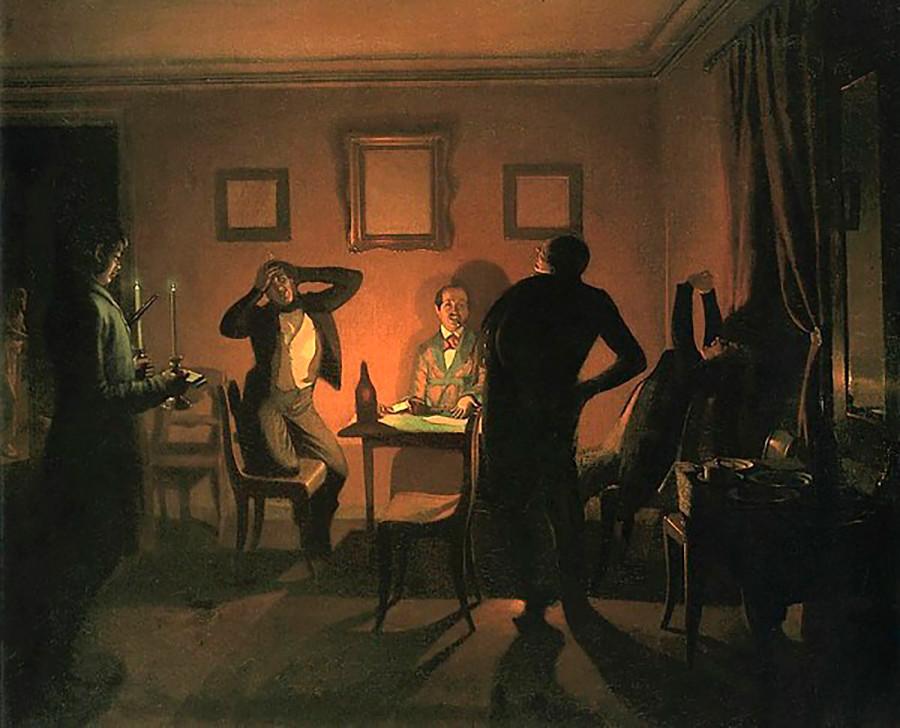 """Коцкари"", Павел Федотов, 1852."