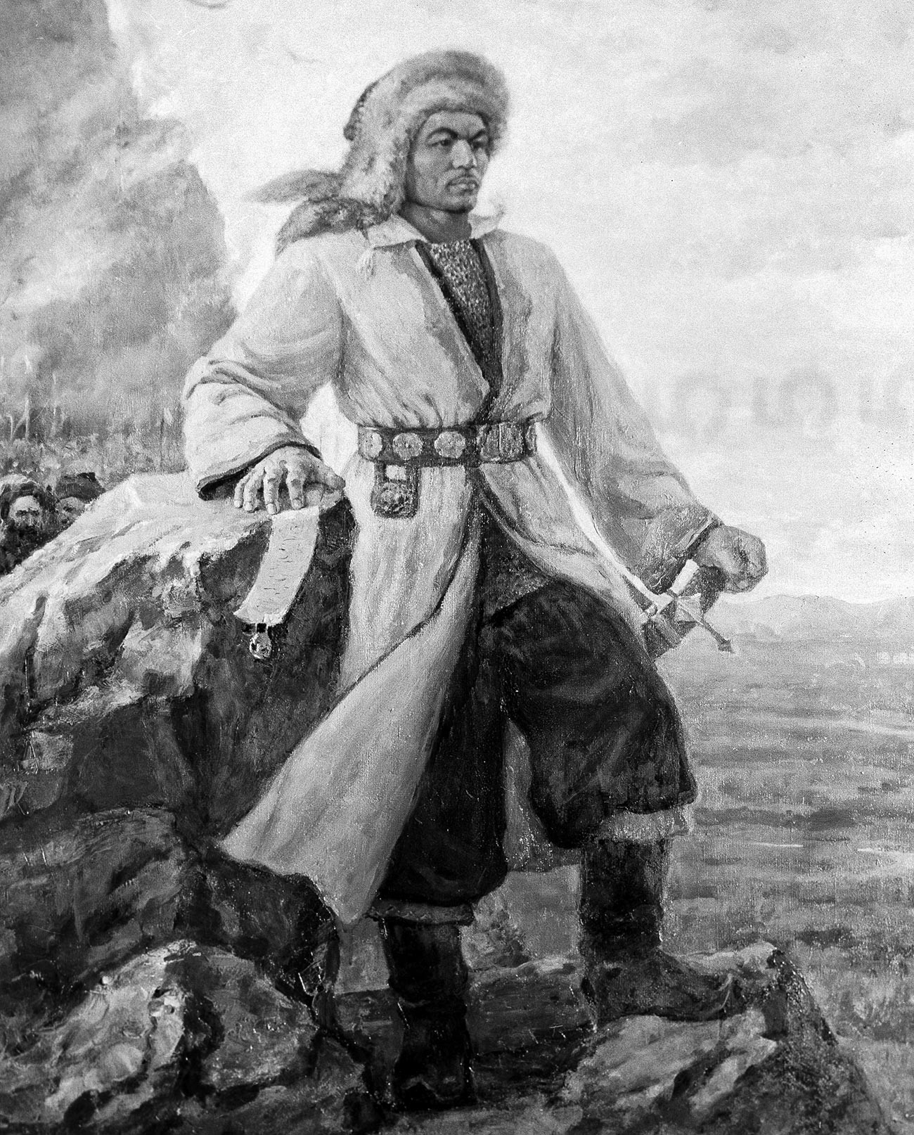 Potret pertama Salavat Yulayev dalam seni Bashkir, digambar oleh Gabdulla Mustafin pada 1957.