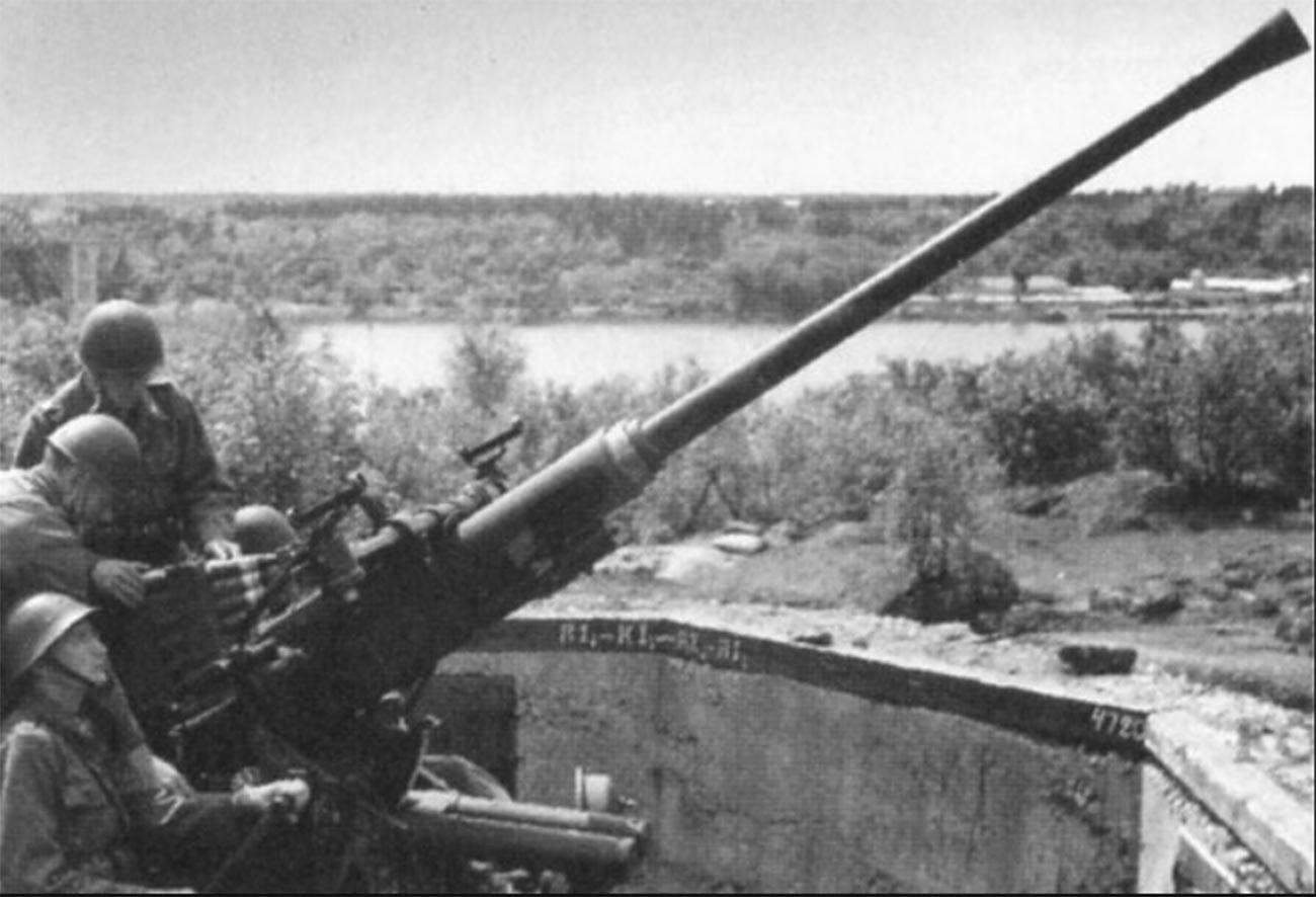 Тантолунденска противавионска батерија у Стокхолму са противавионским топом М/36 калибра 40 мм.