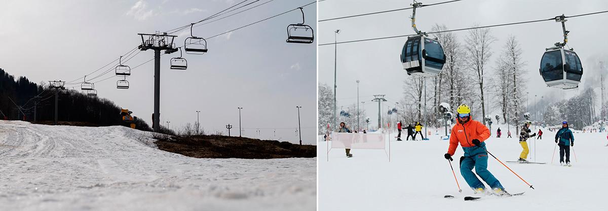 La estación de esquí de Krasnaya Polyana, el 28 de marzo de 2020 y el 22 de febrero de 2021.