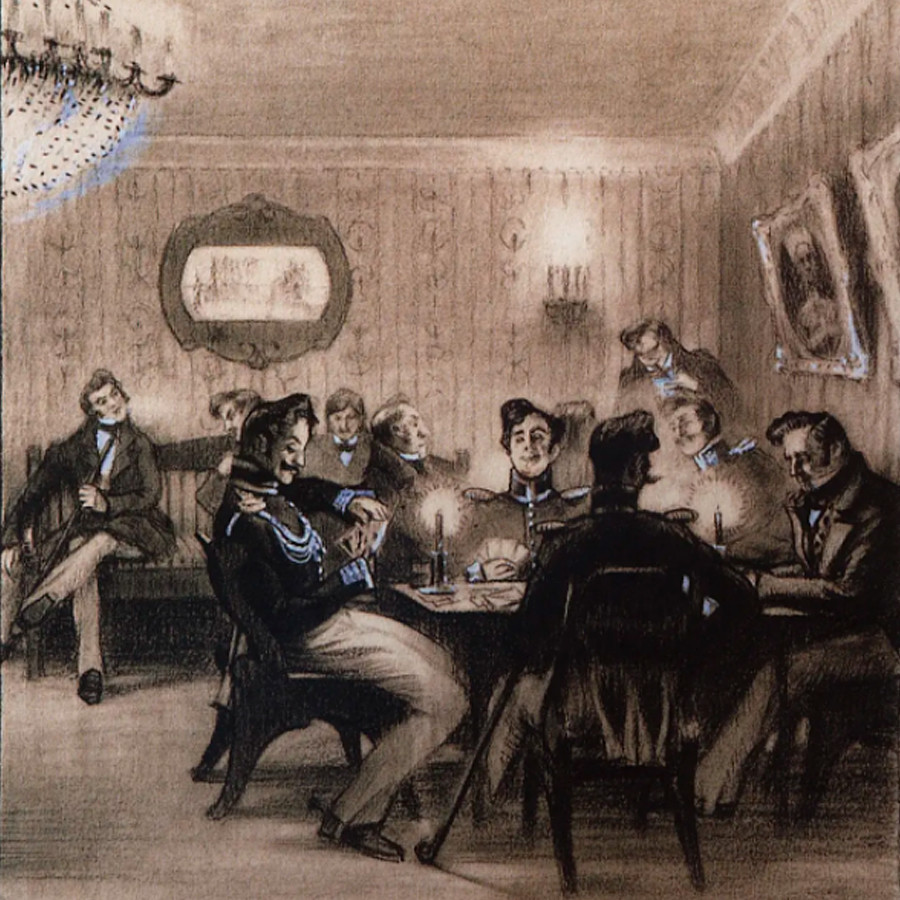 Partie de whist. Illustration par Boris Koustodiev pour la nouvelle La Calèche de Nicolas Gogol