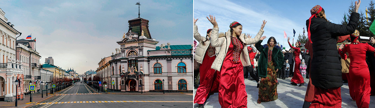 Kremlevskaya Ulitsa, Kazan, 31 Maret 2020 (kiri), dan perayaan Norouz di Kazan, 21 Maret 2021. Norouz adalah perayaan datangnya musim semi dan Tahun Baru Persia. Secara tradisional, Norouz dirayakan di Iran, Azerbaijan, Afganistan, Pakistan, beberapa bagian India, dan di antara suku bangsa Kurdi.