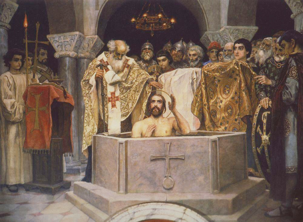 Pembaptisan Pangeran Vladimir. Sebuah fragmen lukisan dinding di Katedral Vladimir di Kiev, Ukraina. Viktor Vasnetsov.