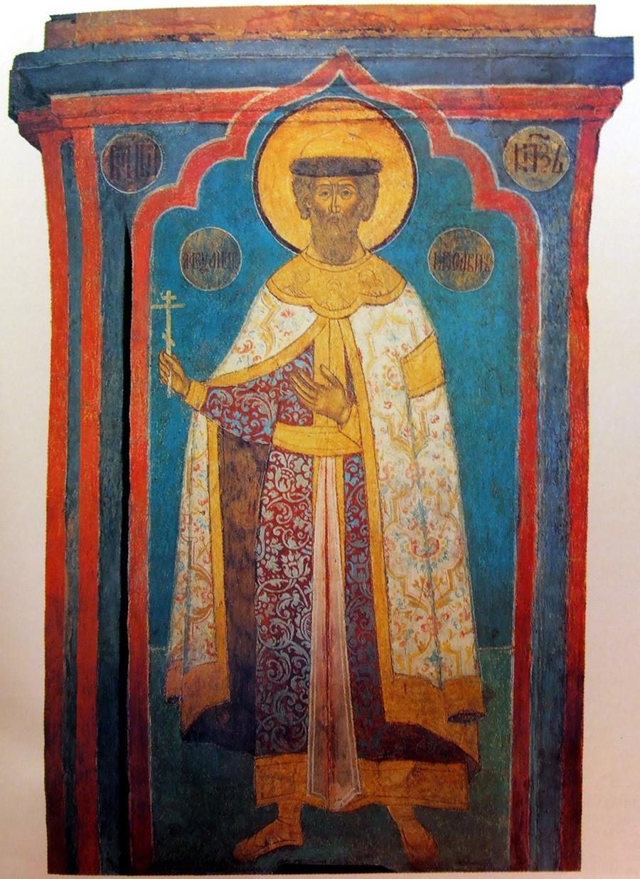 Santo Aleksandr Nevsky. Sebuah lukisan dinding di Katedral Arkhangelsky di Kremlin Moskow.