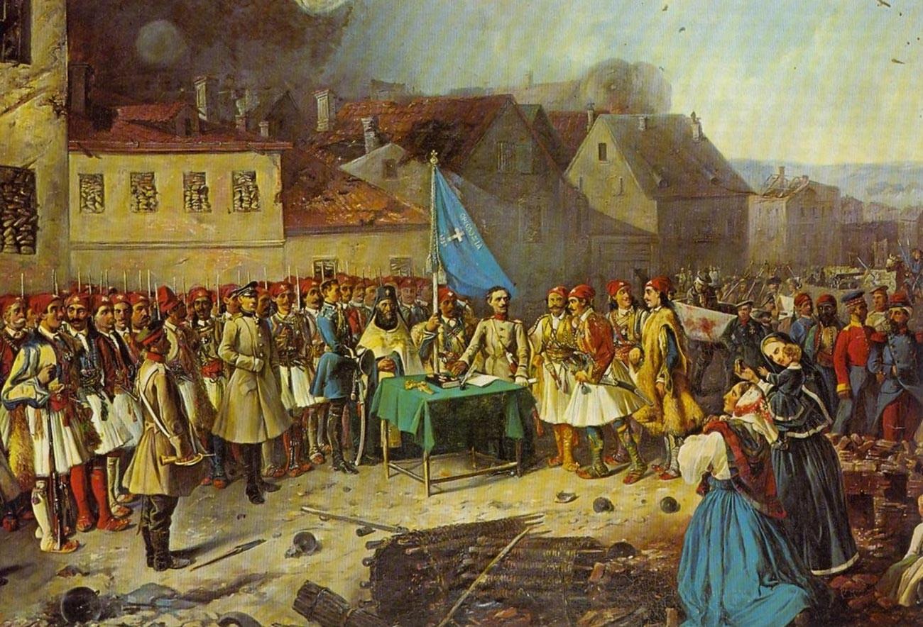 Voluntarios griegos al mando de Panos Koronaios en Sebastopol durante la Guerra de Crimea.