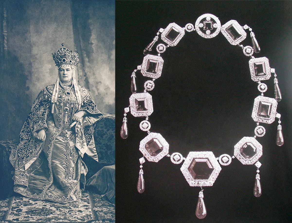Maria Pavlovna dengan perhiasannya selama pesta dansa 1903.