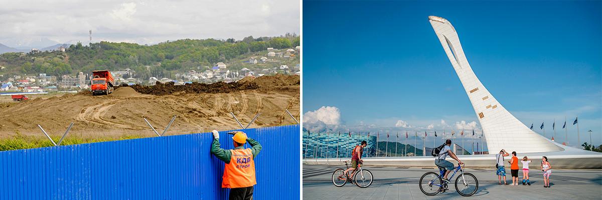 Der Bau des Parks im Jahr 2009 und im Jahr 2014.