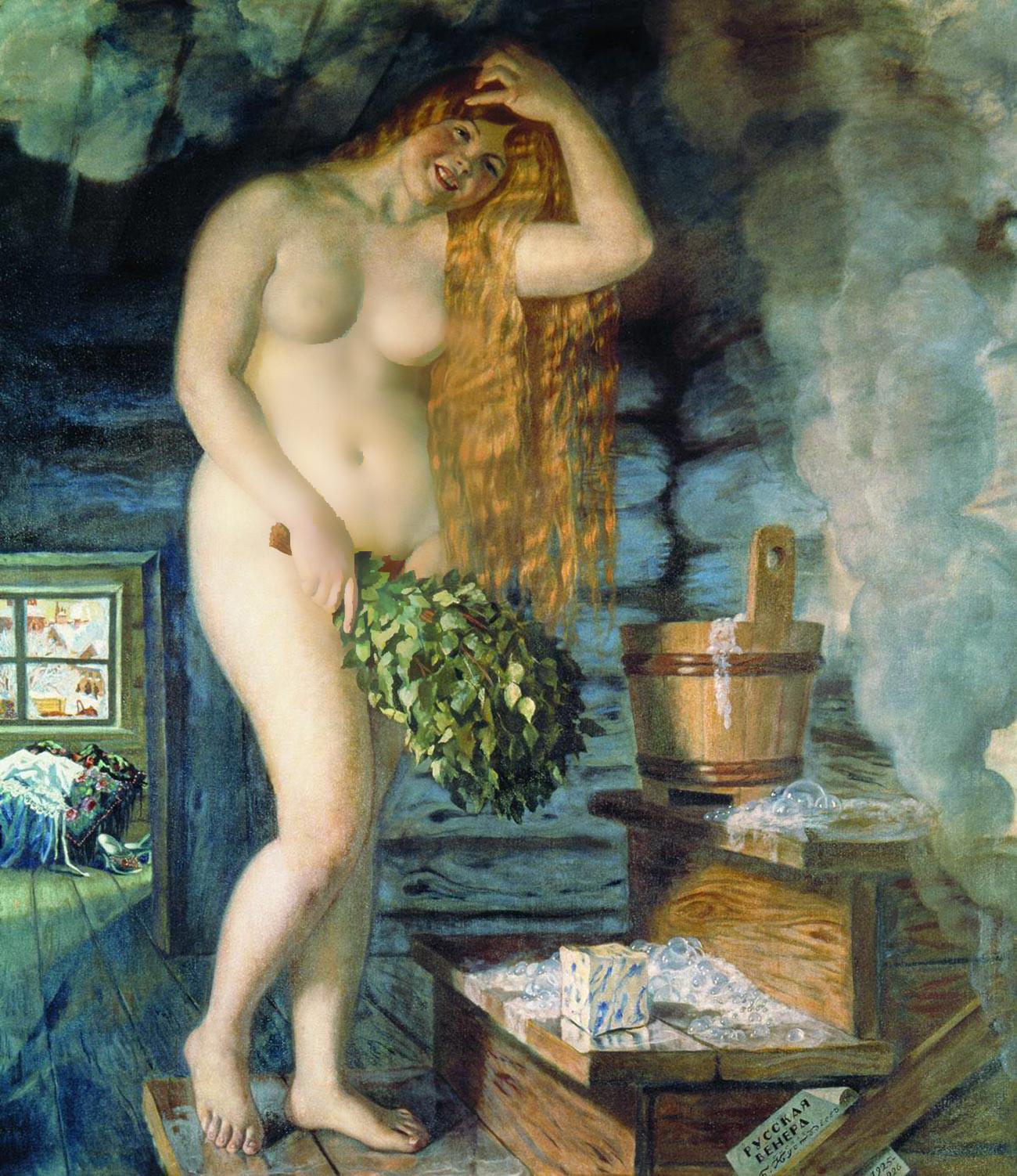 Lukisan 'Russkaya Venera' (Venus Rusia), karya seniman Rusia Boris Kustodiev, yang dilukis pada 1925—1926.