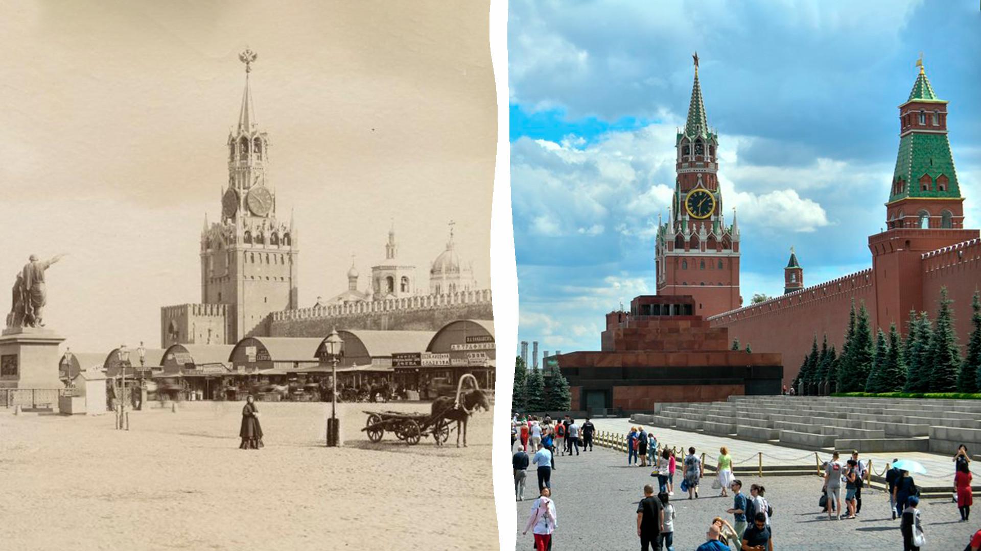 La Piazza Rossa di Mosca alla fine del XIX secolo e oggi