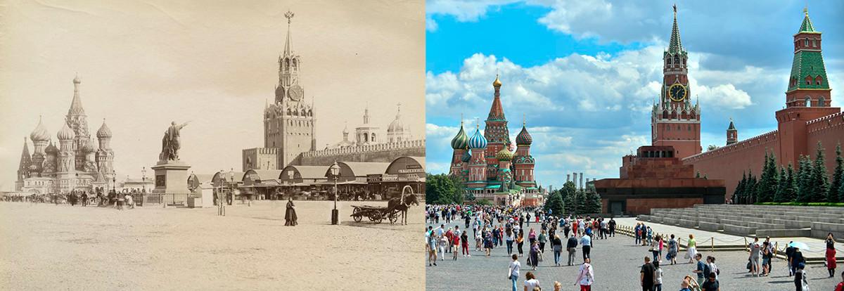 A sinistra: il mercato temporaneo vicino alle mura del Cremlino, 1886. A destra: la Piazza Rossa ai giorni nostri