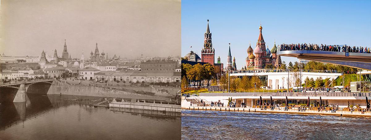Il quartiere Zaryadye visto dal lungofiume Raushskaya negli anni '90 del 1800; a destra, il parco Zaryadye oggi