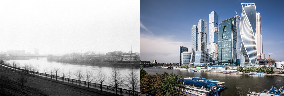 A sinistra, il luogo dove oggi sorge Moscow City immortalato in una foto del 1982